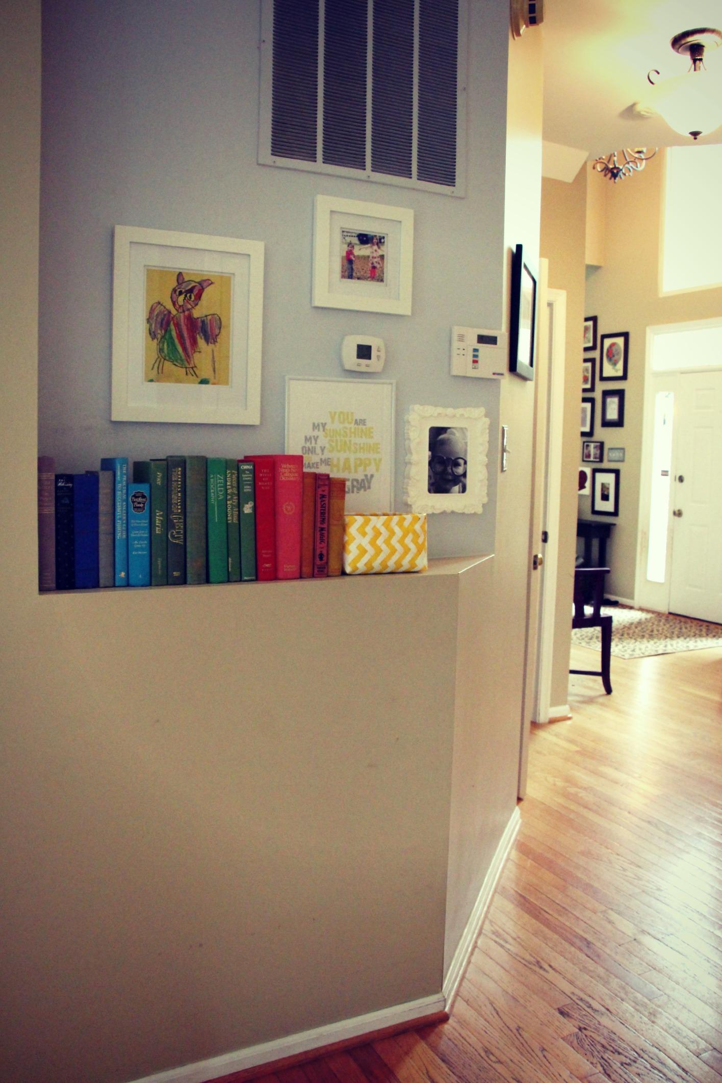 Thrift Store Rainbow Bookshelf:: Little Pink Monster