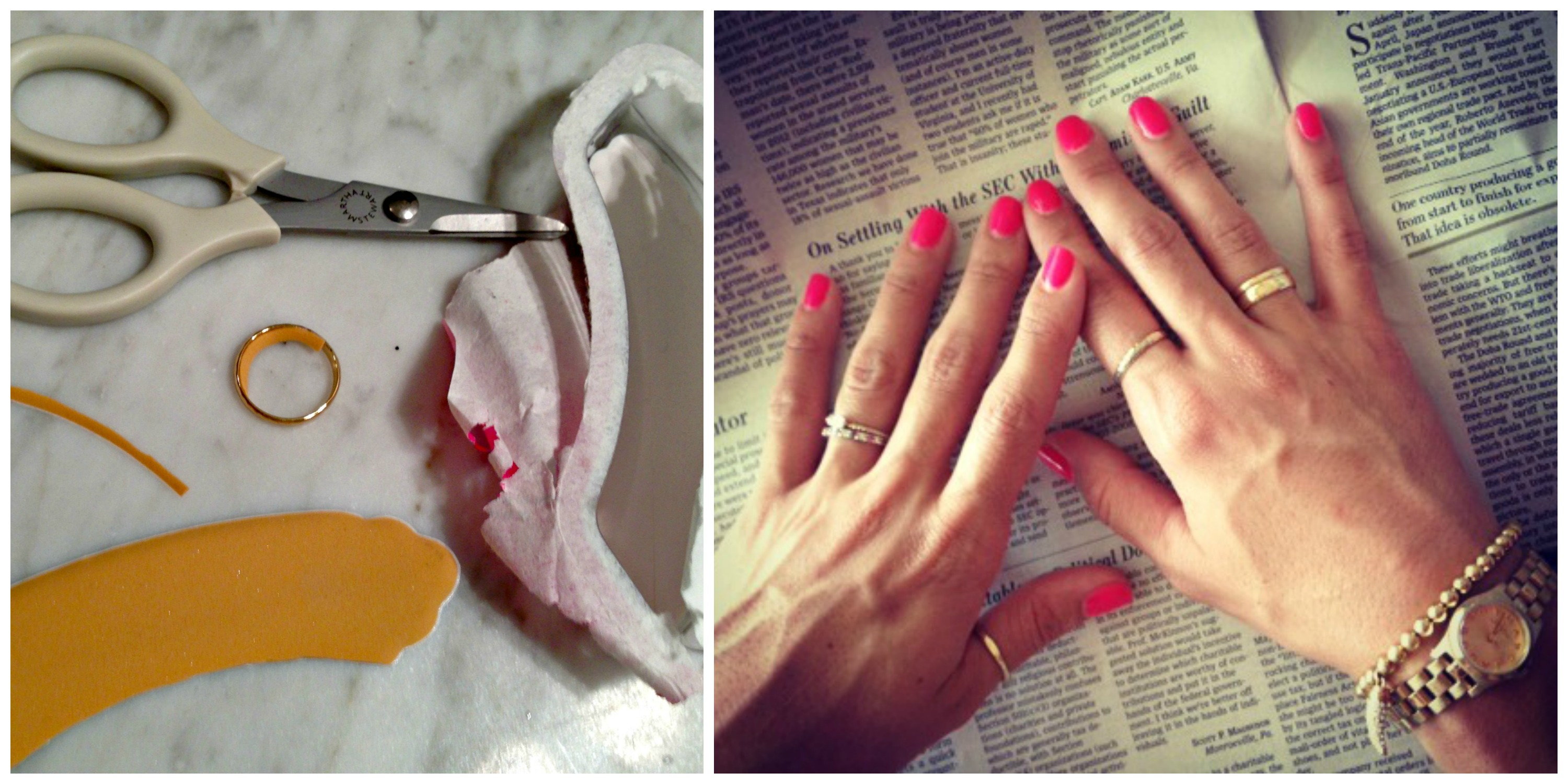Fix a too big ring with a piece of an adhesive foot pad:: Little Pink Monster