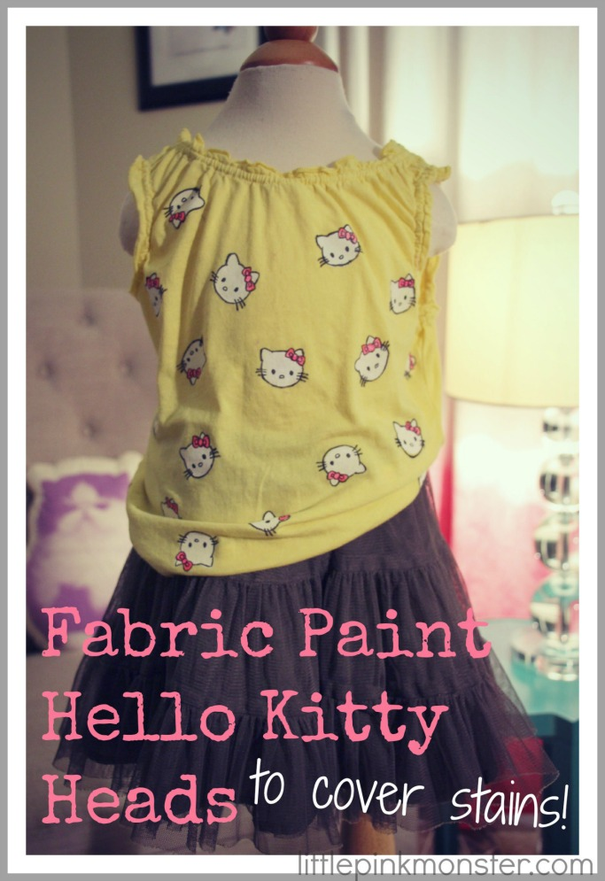Fabric Painted Hello Kitty to cover stains! :: by LittlePinkMonster.com