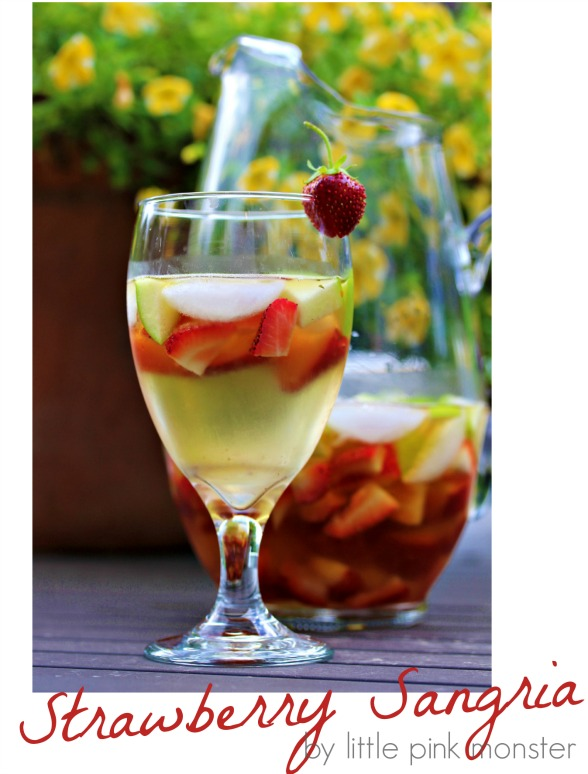 White Strawberry Sangria with Brand Soaked Apples:: by Little Pink Monster