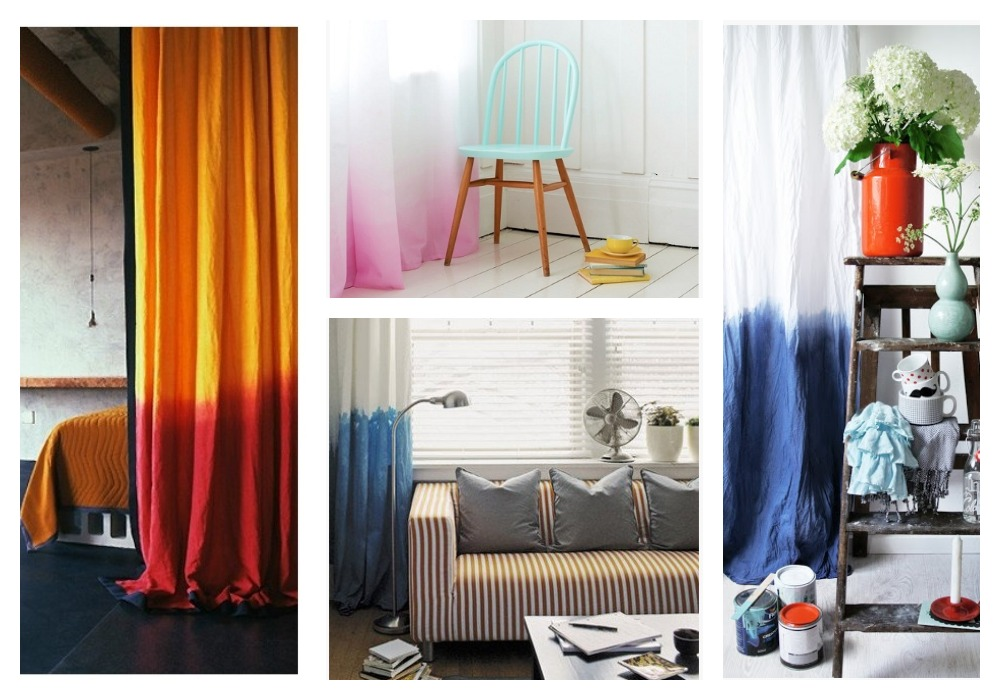 DIY Dip Dyed Ombre Window Panel Curtains:: by Little Pink Monster