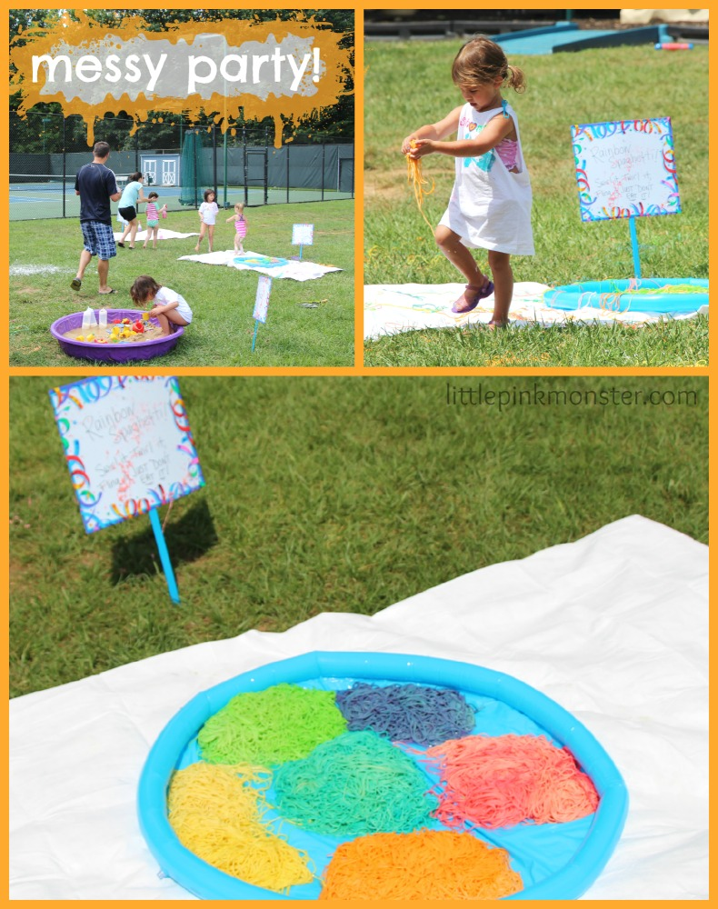 rainbow spaghetti:: messy party by little pink monster