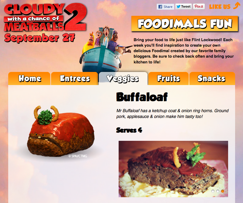Cloudy with a Chance of Meatballs 2:: The Foodimals!:: Buffaloaf Recipe by Little Pink Monster