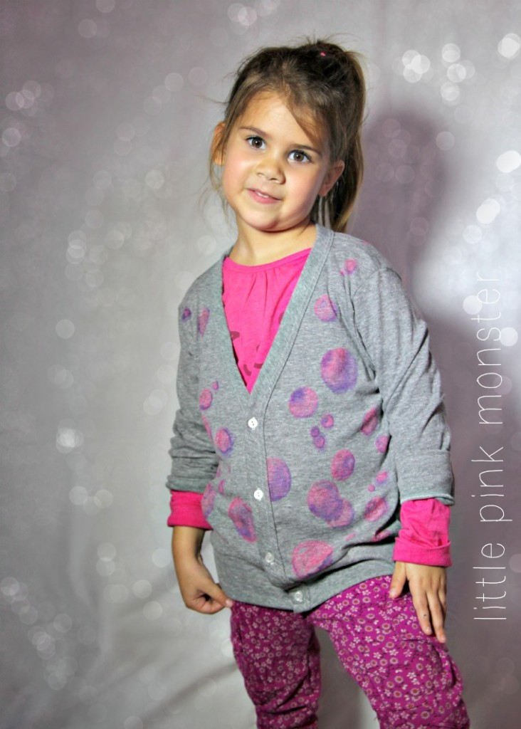 pink bubbles cardigan with fabric marker watercolor by little pink monster