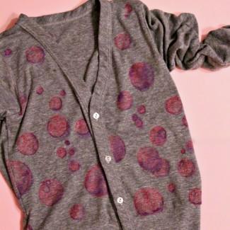 Pink Bubbles Cardigan (fabric markers watercolor diy)