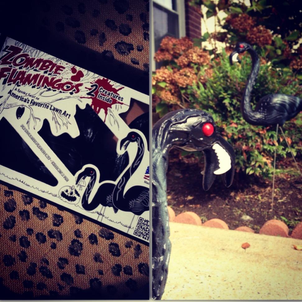 halloween zombie flamingos!