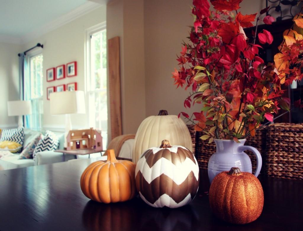 DIY Chevron Pumpkins by Little Pink Monster