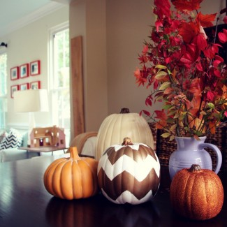 Thanksgiving DIY Decor: Chevron Pumpkins & Glamourized Kid's Art