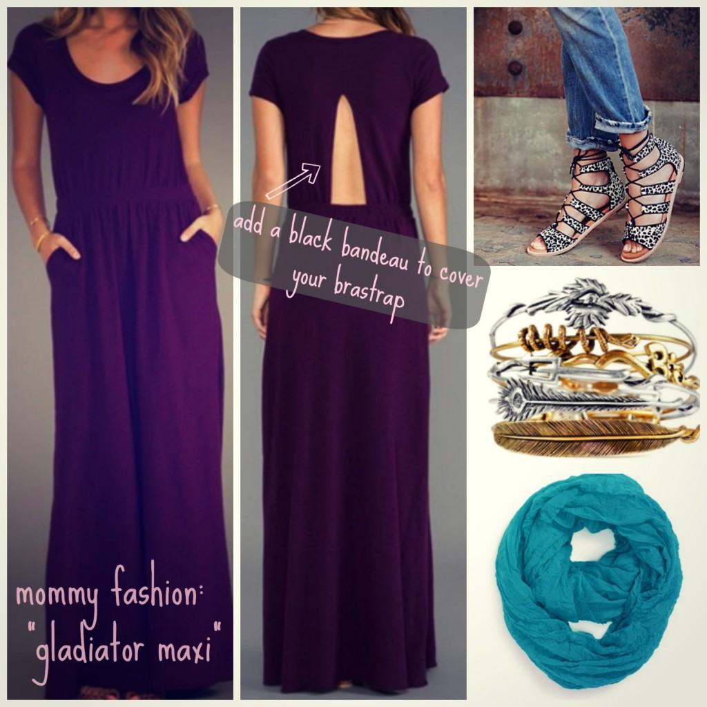 mommy fashion: gladiator maxi dress look