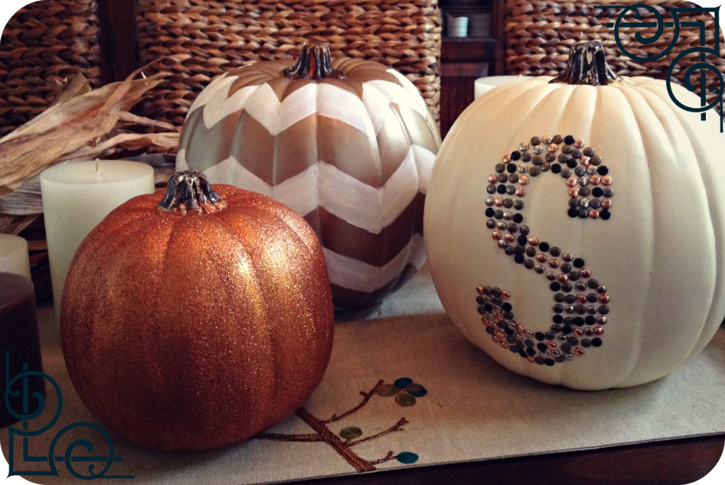 monogram chevron and glitter pumpkins:: by Little Pink Monster