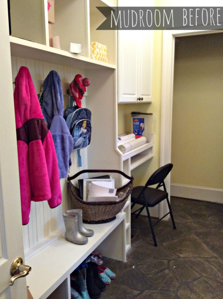 mudroom before:: little pink monster